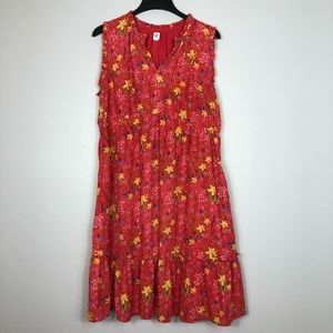 Gap Maternity Floral Dress Ruffle V Neck Pockets